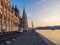 Por do sol em Budapest Fotografia de Stock