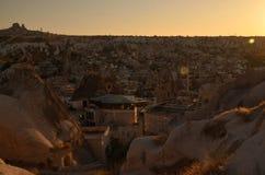 Por do sol em Cappadocia fotos de stock