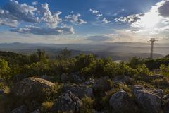 Por do sol em Castellon, Espanha fotografia de stock royalty free