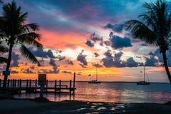 Por do sol em chaves de Florida fotografia de stock royalty free