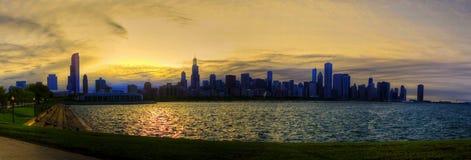 Por do sol em Chicago Imagem de Stock