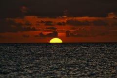 Por do sol em cocos de Cayo Imagens de Stock Royalty Free