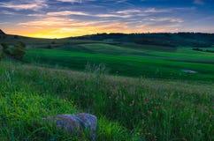 Por do sol em Colfiorito Foto de Stock