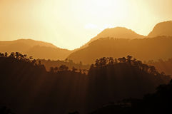 Por do sol em Copan Imagem de Stock