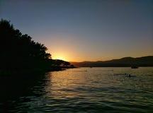 Por do sol em Croatia Fotografia de Stock