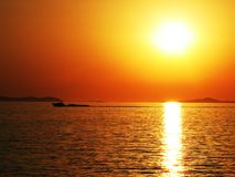 Por do sol em Croatia Foto de Stock