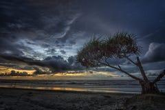Por do sol em Dalit Beach Fotografia de Stock