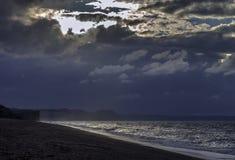 Por do sol em Devon Jurassic Coast imagem de stock royalty free