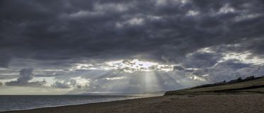 Por do sol em Devon Jurassic Coast fotos de stock
