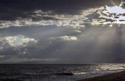 Por do sol em Devon Jurassic Coast fotografia de stock royalty free