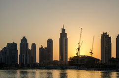 Por do sol em Dubai Foto de Stock Royalty Free