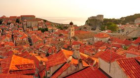 Por do sol em Dubrovnik, Croatia Fotos de Stock
