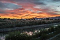 Por do sol em EL Grao de Castellon Imagem de Stock Royalty Free