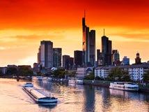 Por do sol em Francoforte fotos de stock royalty free