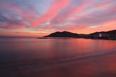 Por do sol em Frech Riviera Imagem de Stock Royalty Free