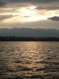 Por do sol em Geneve Imagem de Stock Royalty Free
