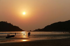 Por do sol em Goa Foto de Stock Royalty Free