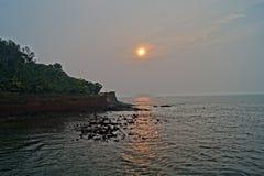 Por do sol em Goa Fotografia de Stock