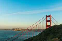 Por do sol em golden gate bridge, San Francisco Foto de Stock Royalty Free