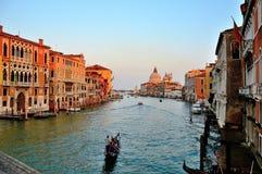 Por do sol em Grand Canal fotos de stock royalty free