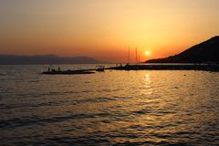 Por do sol em greece fotografia de stock royalty free