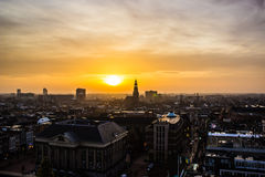 Por do sol em Groningen Fotografia de Stock Royalty Free