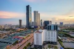 Por do sol em Hanoi de cima de Imagem de Stock