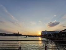 Por do sol em HarbourFront @ Singapura imagens de stock