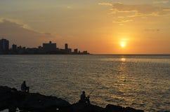 Por do sol em Havana (Cuba) Foto de Stock