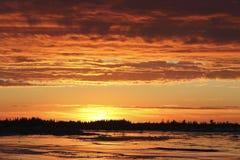 Por do sol em Hudson Bay Canada Fotografia de Stock