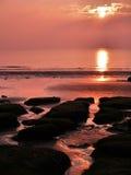 Por do sol em Hunstanton Foto de Stock