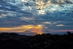 Por do sol em ilhas eólias Fotografia de Stock Royalty Free