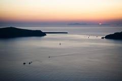 Por do sol em Imerovigli Fotografia de Stock