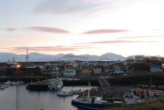 Por do sol em Islândia foto de stock