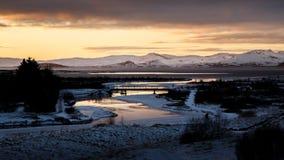 Por do sol em Islândia no inverno Foto de Stock Royalty Free