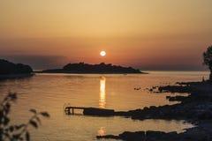 Por do sol em Istrie fotos de stock