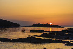 Por do sol em Istrie Foto de Stock Royalty Free