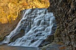 Por do sol em Ithaca Falls em New York rural imagens de stock royalty free