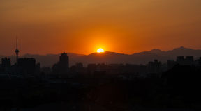 Por do sol em Jing Hill fotos de stock royalty free