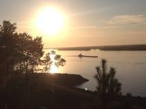 Por do sol em Khabarovsk Fotos de Stock