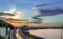 Por do sol em Kiev Fotografia de Stock