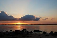 Por do sol em Knud Beach Imagem de Stock