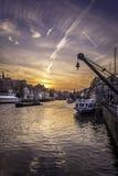 Por do sol em Am Kranen em Bamberga Fotos de Stock