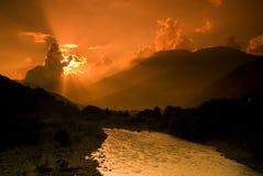 Por do sol em Krasnaya Polyana Imagem de Stock Royalty Free