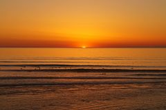 Por do sol em Lacanau Foto de Stock