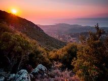 Por do sol em Lesbos Imagens de Stock