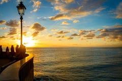 Por do sol em Ligury, Itália Imagens de Stock Royalty Free