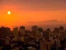 Por do sol em Lima Fotografia de Stock