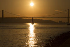 Por do sol em Lisboa Portugal Imagens de Stock Royalty Free