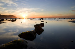 Por do sol em Llandudno. Wales Fotografia de Stock
